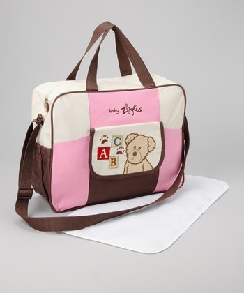 Pink & Brown Diaper Bag