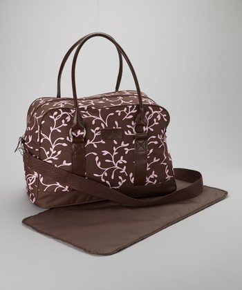 Brown & Pink Elegant Leaf Diaper Bag