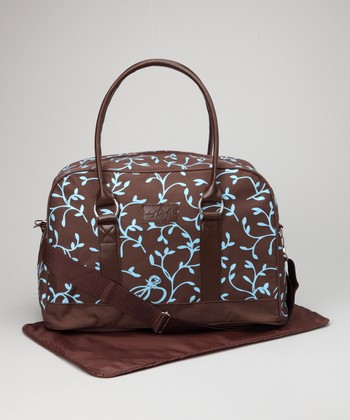 Brown & Blue Trending Mom Diaper Bag