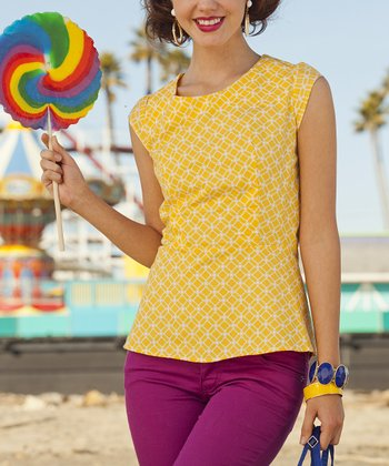 Yellow Print Yellow Sand & Sun Peplum Top
