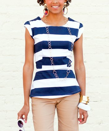 Navy & White Stripe Aruba Blue Top