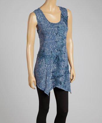 Blue Lace Appliqué Handkerchief Tunic