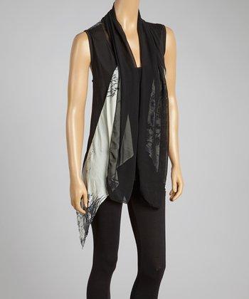 Black & Gray Silk-Blend Drape Vest