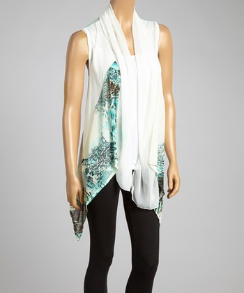 Aqua & White Silk-Blend Drape Vest