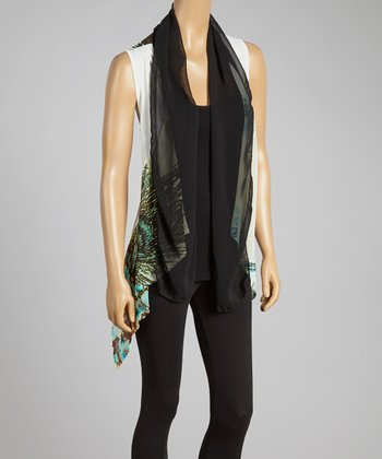Black & White Silk-Blend Drape Vest