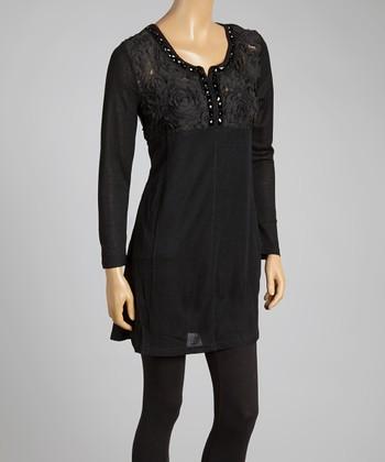 Black Rosette Silk-Blend Tunic