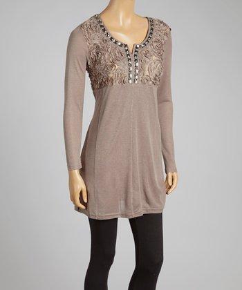 Ecru Rosette Silk-Blend Tunic