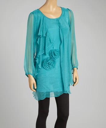 Turquoise Rosette Silk-Blend Shift Tunic