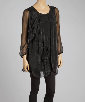 Black Rosette Silk-Blend Shift Tunic