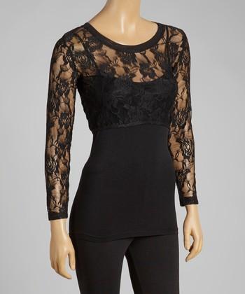 Black Floral Long-Sleeve Crop Top