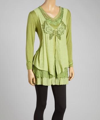 Green Distressed Linen-Blend Tunic