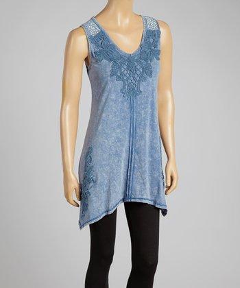 Blue Stud Appliqué Handkerchief Tunic