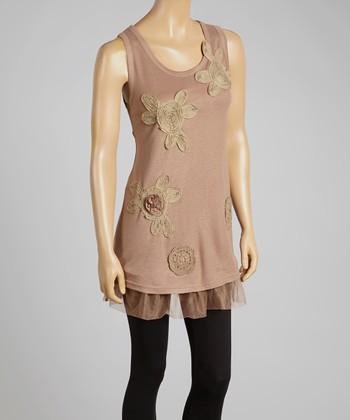 Brown Floral Appliqué Tulle Linen-Blend Sleeveless Tunic