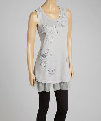 Gray Floral Appliqué Tulle Linen-Blend Sleeveless Tunic