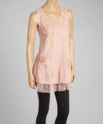 Peach Floral Appliqué Tulle Linen-Blend Sleeveless Tunic