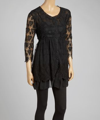 Black Heart Crochet Button-Up Tunic