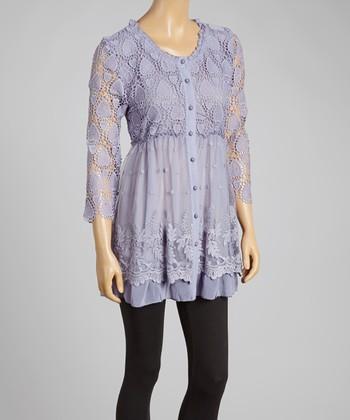 Purple Heart Crochet Button-Up Tunic