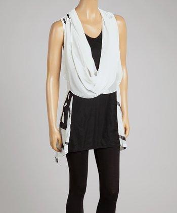 Cream & Black Silk-Blend Drape Tank & Vest