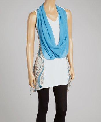 Turquoise & Cream Silk-Blend Drape Tank & Vest