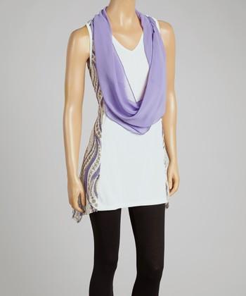 Purple & Cream Silk-Blend Drape Tank & Vest