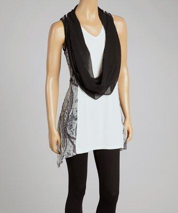 Black & Cream Silk-Blend Drape Tank & Vest