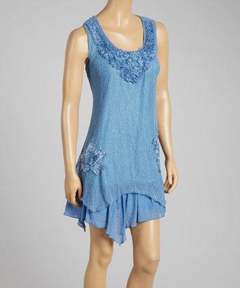 Dark Blue Appliqué Linen-Blend Dress