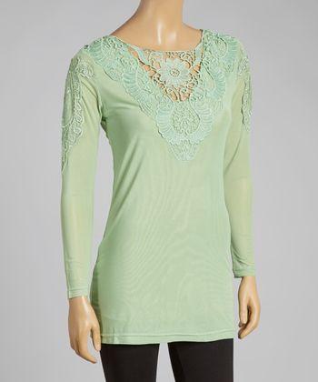 Mint Crochet Linen-Blend Top