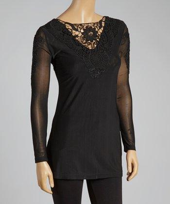 Black Crochet Linen-Blend Top