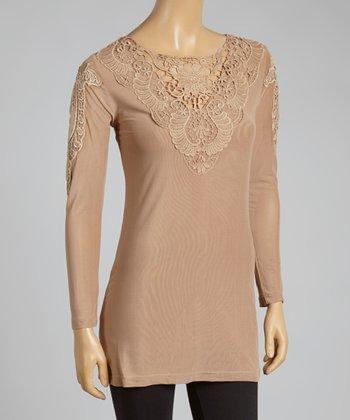 Brown Crochet Linen-Blend Top