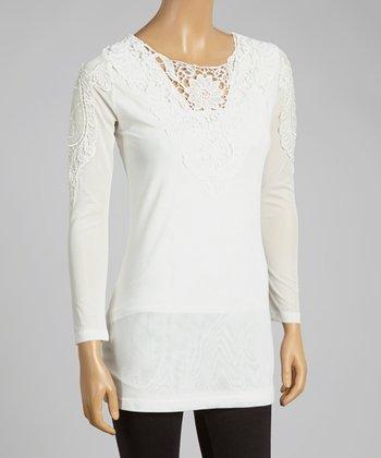 Cream Crochet Linen-Blend Top