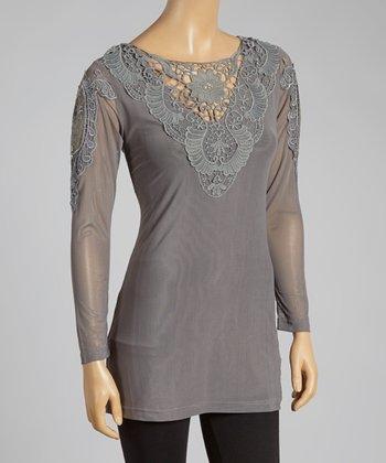 Gray Crochet Linen-Blend Top