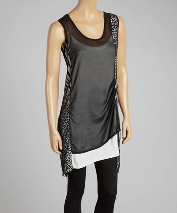 Black Safari Linen-Blend Sleeveless Tunic