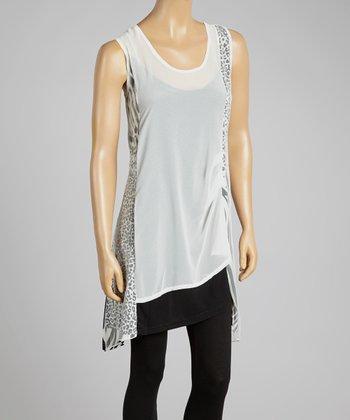White Safari Linen-Blend Sleeveless Tunic