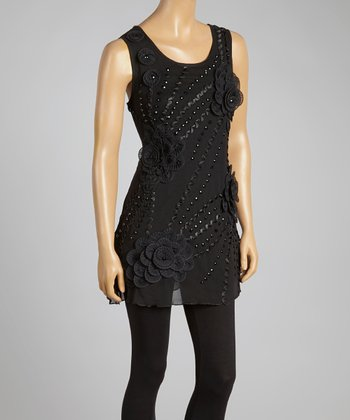 Black Floral Appliqué Sleeveless Tunic