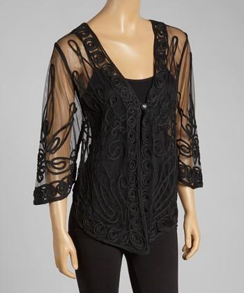 Black Sheer Embroidered Silk-Blend Cardigan