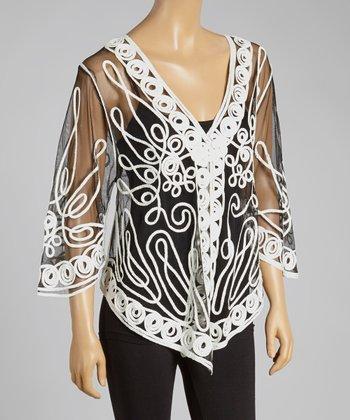 Black & White Sheer Embroidered Silk-Blend Cardigan