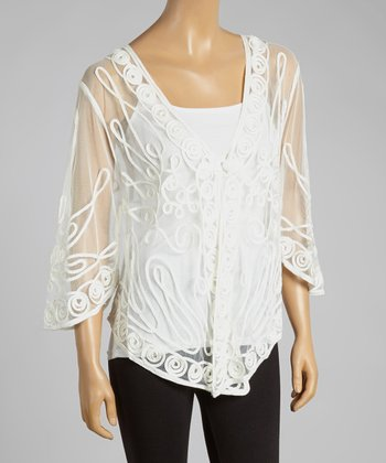 White Sheer Embroidered Silk-Blend Cardigan