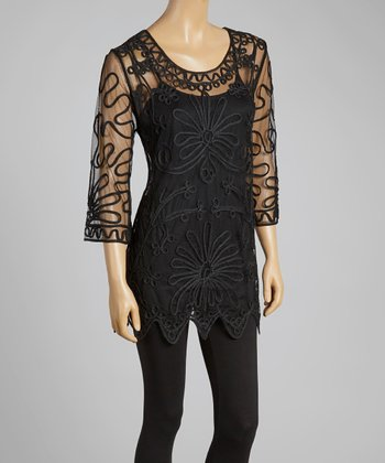 Black Sheer Embroidered Silk-Blend Tunic