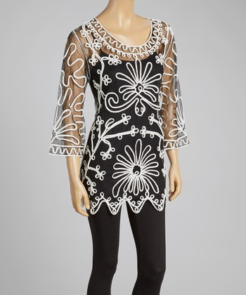 Black & White Sheer Embroidered Silk-Blend Tunic