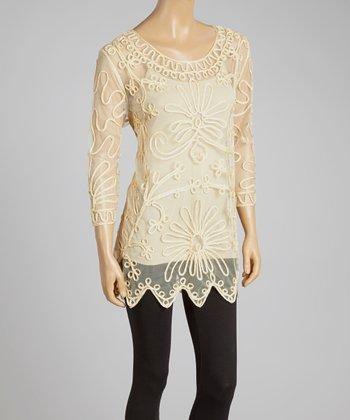 Caramel Sheer Embroidered Silk-Blend Tunic