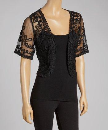 Black Sheer Embroidered Silk-Blend Shrug