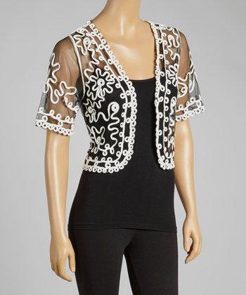 Black & White Sheer Embroidered Silk-Blend Shrug