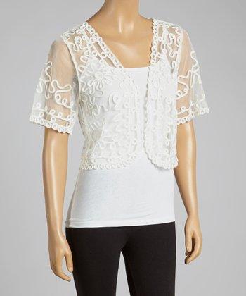 Caramel Sheer Embroidered Silk-Blend Shrug