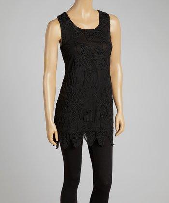 Black Embroidered Silk-Blend Sleeveless Tunic