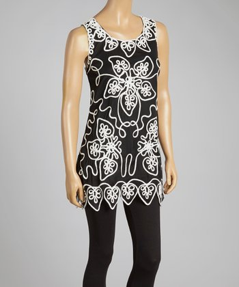 Black & White Embroidered Silk-Blend Sleeveless Tunic