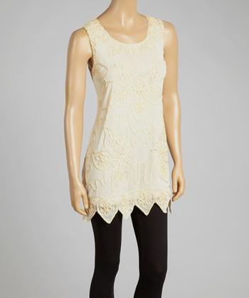 Caramel Embroidered Silk-Blend Sleeveless Tunic