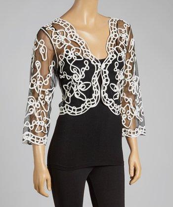 Black & White Sheer Embroidered Shrug