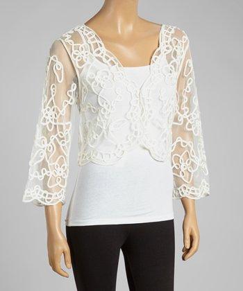 White Sheer Embroidered Shrug