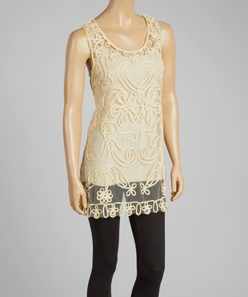 Caramel Sheer Embroidered Silk-Blend Top