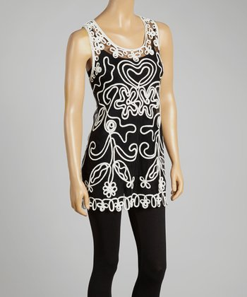 Black & White Sheer Embroidered Silk-Blend Top